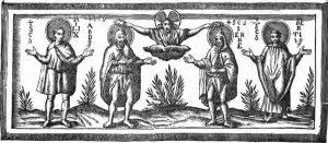 Cristo incorona i santi Abdon e Sennen, ai lati i santi Milex e Vincenzo.